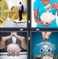 4 pics 1 word piggy bank coins