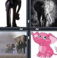 4 Pics 1 Word Elephant